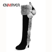 ENMAYER Boots women round toe fur over the knee high heel boots women zipper boots thin heel boots Size 34-40 ZYL956