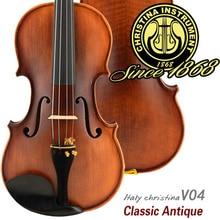 Italy professional Violin Christina V04 Maple wood violino 4/4 Antique natural flamed hand made violin 3/4,send rosin,case,bow
