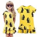 Moda Vestido de la muchacha Embroma la Ropa linda del gato princesa vestido de festa babymmclothes infantis Bebé vestido de las muchachas ropa de niños