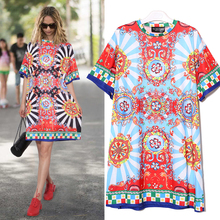 Summer Women Black Blue Floral Printed Beach Wear Dress O-Neck Half Sleeve Cute Ladies Tshirt Dress Midi Sun Dresses 2162