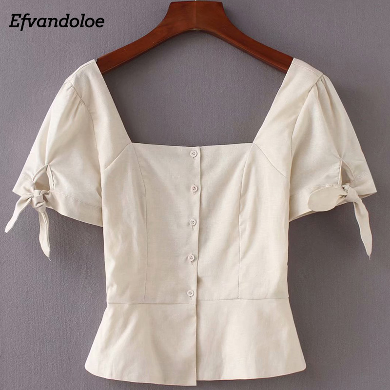 Women   Blouse   2018 Summer Cotton Linen   Blouses     Shirts   Vintage Elegant Tops Clothes Blusa