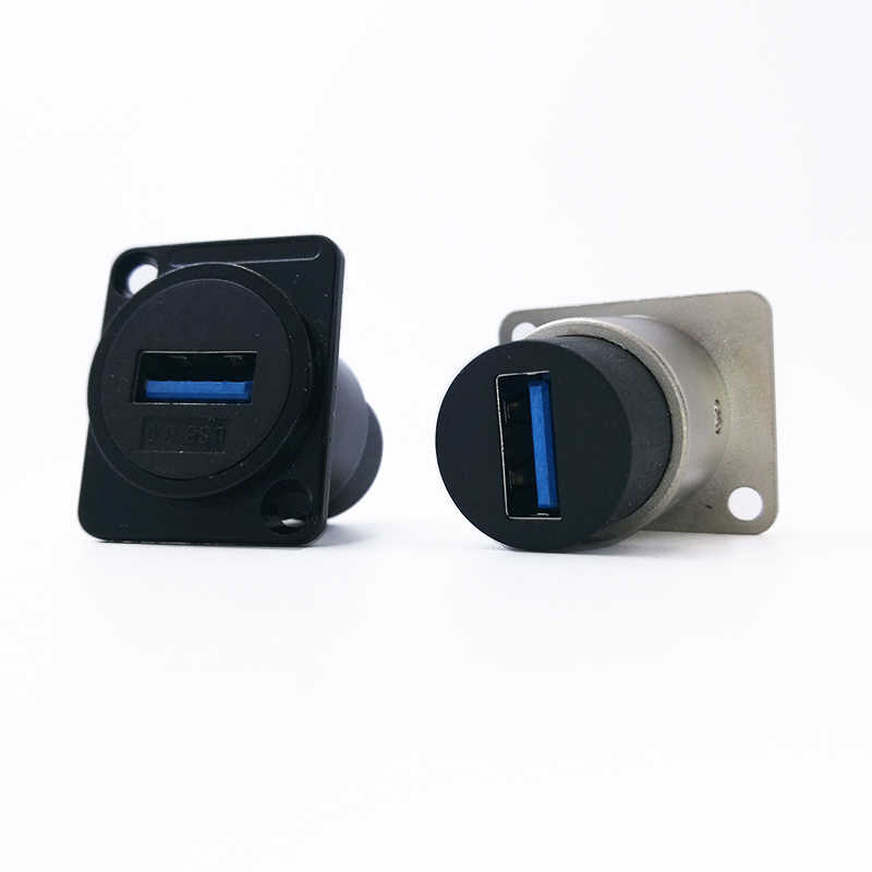 Metal female to female USB 2.0 3.0 connector panel mounting USB socket black