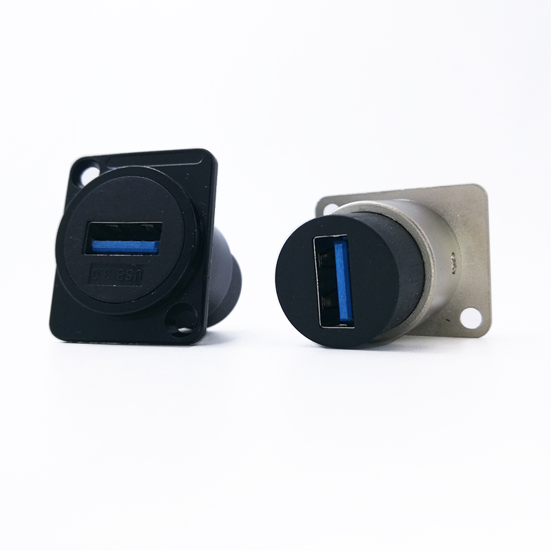 Metal female to female USB 2.0 3.0 connector panel mounting USB socket blackMetal female to female USB 2.0 3.0 connector panel mounting USB socket black