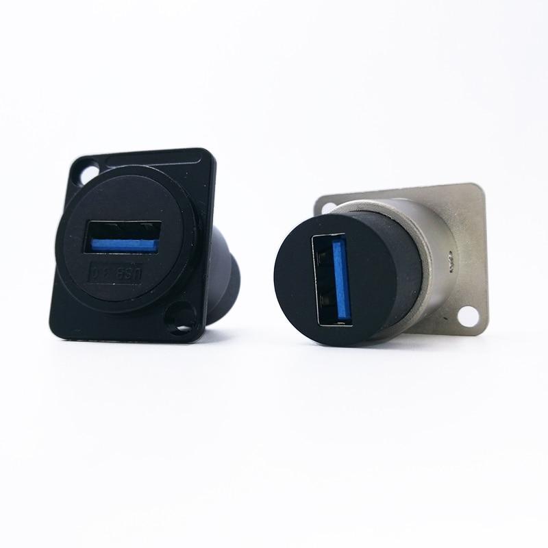 Metal Female To Female USB 2.0 3.0 Connector Panel Mounting USB Socket Black
