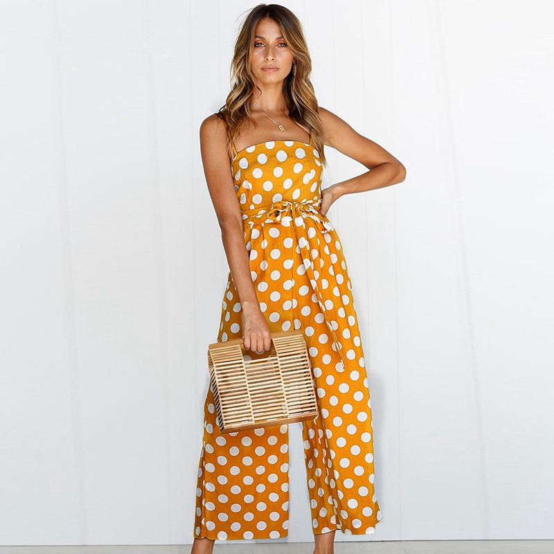Sexy Sleeveless Women jumpsuit 2019 summer Dot Print Playsuit rompers Fashion Backless Runway Loose wide leg jumpsuit with Belt