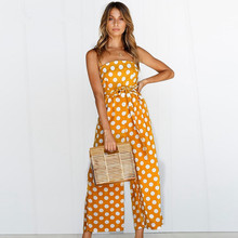 Sexy Sleeveless Women jumpsuit 2019 summer Dot Print Playsuit rompers Fashion Backless Runway Loose wide leg jumpsuit with Belt недорого