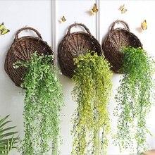 Creative Gardening Straw Flower Pot Wall Hanging Hand-woven Rattan Flower Basket Planter Rattan Vase Basket Home Garden Decor