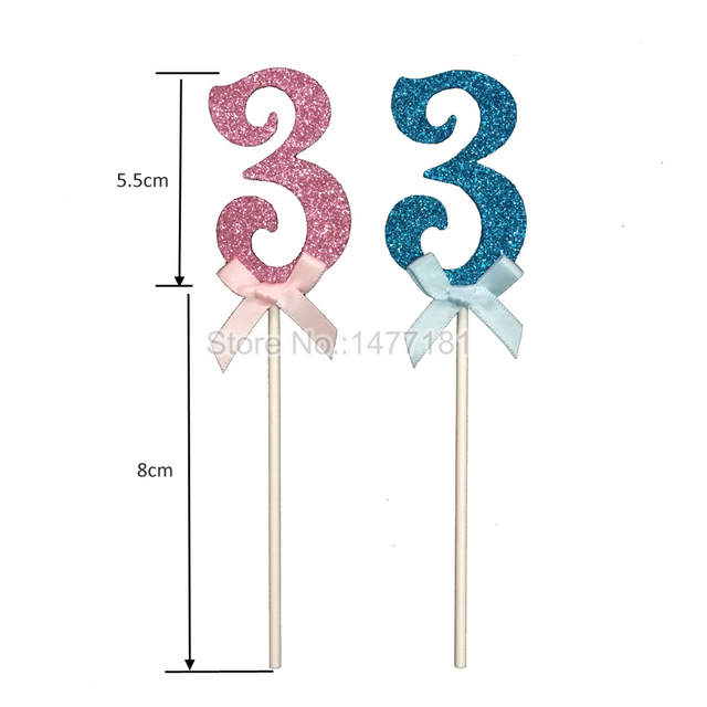 Placeholder 24pcs Glitter Number 3 Cupcake Toppers Baby Three Years Old Birthday Cake Topper Girls Boys The