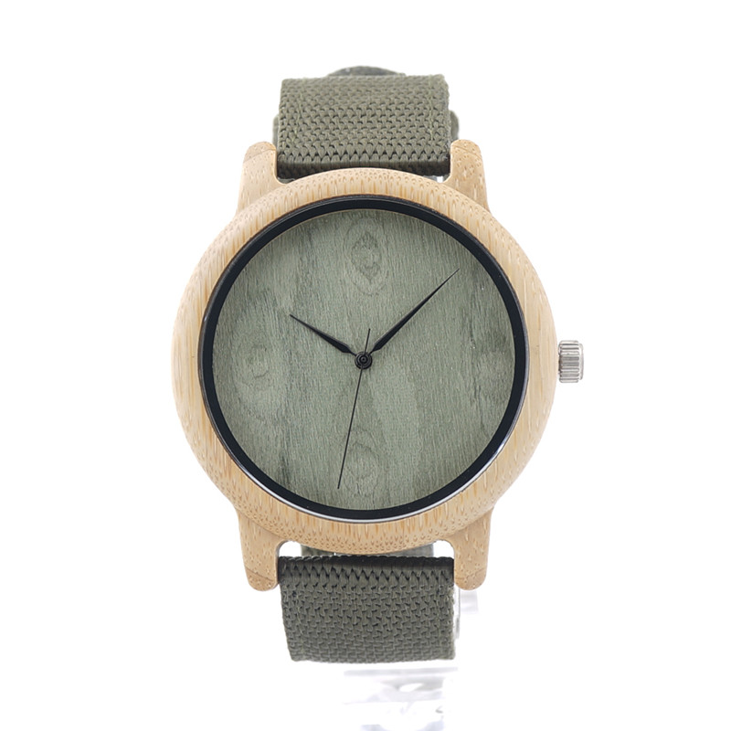 High Quality Bamboo Wooden Wristwatch For Men And Women Luxury Gift Wood Clock With Nylon Straps