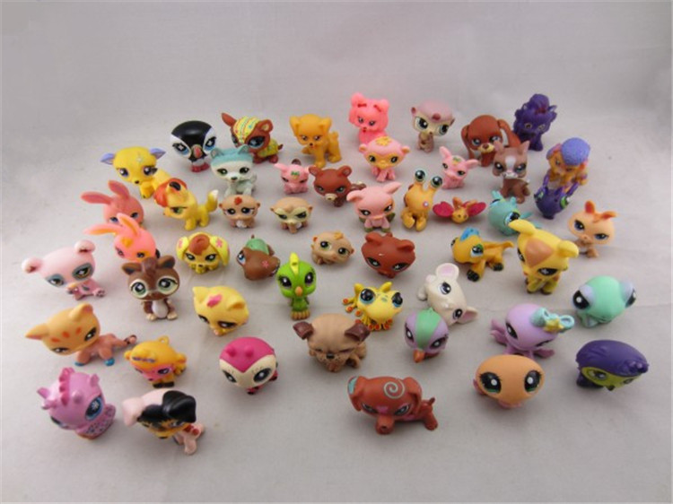 LPS 20Pcs/bag Little Pet Shop Toys Littlest cartoon Animal cute Cat Dog loose Action Figures collection Kids Girl toys Gift pet shop toys dachshund 932 bronw sausage dog star pink eyes
