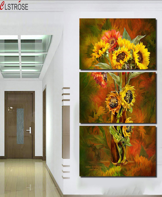 CLSTROSE Hot Spray Painting 3 Panels Flowers Painting Canvas Wall Art Picture Home Decoration Living Room Print Modern Painting : wall art spray paint - www.pureclipart.com
