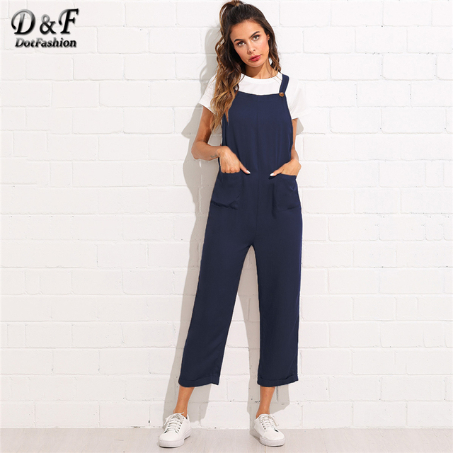 49723843d798 Dotfashion Pocket Front Rolled Up Hem Pinafore Navy Jumpsuits Women Casual  Fall Plain Straps Straight Leg