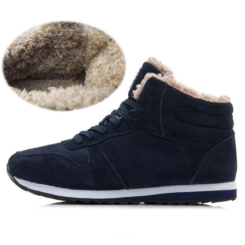 Sneakers 2018 Casual Air Plat Homme Solide En Non Hiver Hommes Mâle Chaud Troupeau slip Marche Plein Neige bleu Chaussures Noir nqYCdwxEF