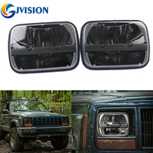 """Square led headlight 5×7 INCH High/Low Beam Black 7"""" projector headlight for Jeep Wrangler Motorcycle Trucks YJ H4 Headlamp"""