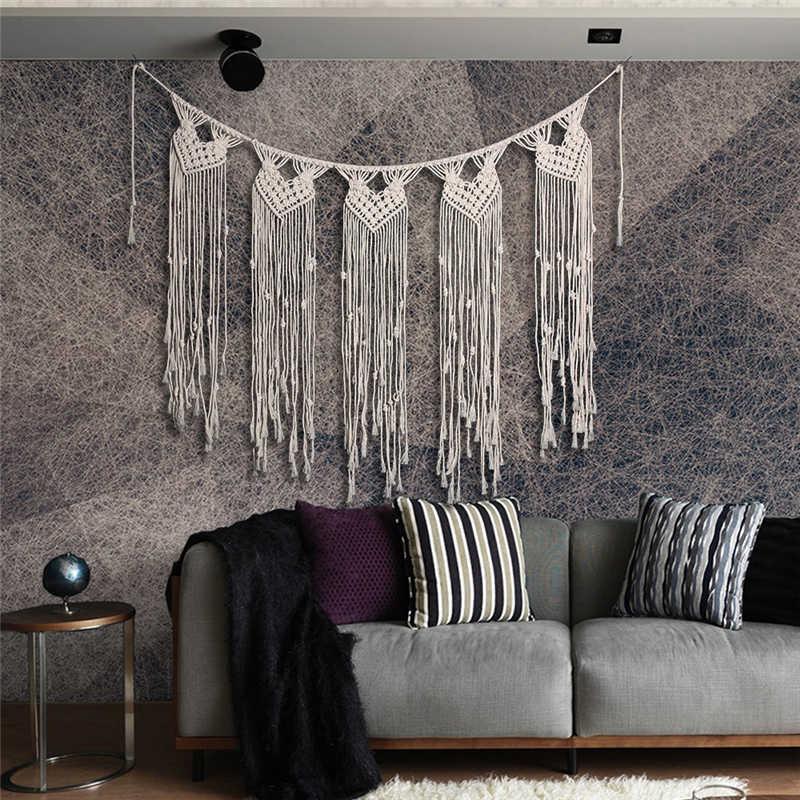 100% Cotton Handmade Bohemian Treo Tấm Thảm Scandinavian Trang Trí Nội Thất Bắc Âu Tường Nghệ Thuật Châu Âu Boho Tua Cổ Điển Thủ Công
