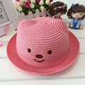 1 Pcs 2016 Lovely Cartoon New Bear Children Sun Hats Spring Summer Fashion Flanging Beach Straw Hats 51-52cm 10Colors