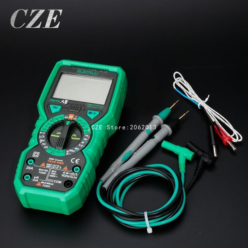 High Precision Digital Multimeter Handheld Test DC AC Current Voltage Resistance With temperature test MK72 hp 870m capacity measuring instruments with dc ac voltage current resistance back light