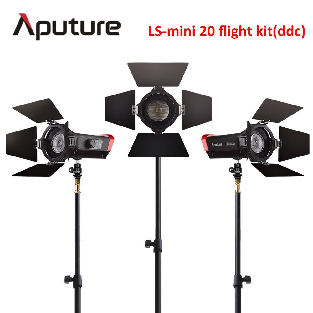 Aputure CRI 97+ LS Mini20 flight kit ddc fresnel cob led light photography led light film led light with light stand aputure ls mini 20 3 light kit two mini 20d and one mini 20c led fresnel light tlci cri 96 40000lux 0 5m 3 light stand case