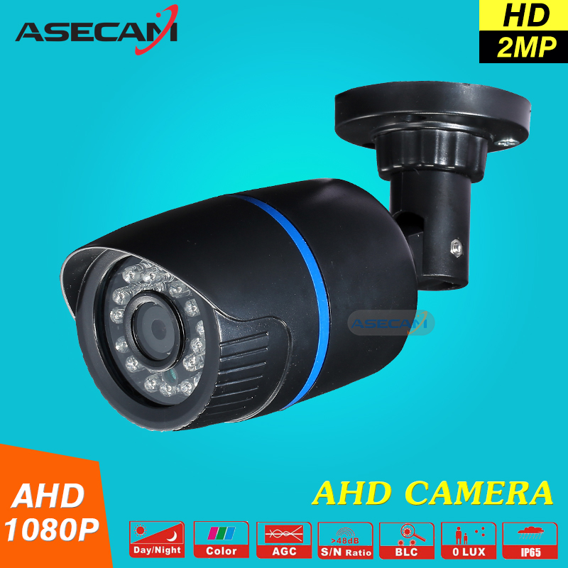 ASECAM 2MP AHD 1080P Security Camera Mini Black Indoor Bullet 24leds infrared Night Vision Surveillance Free shipping mini bullet cvbs ccd camera 700tvl with headset mount for mobile surveillance security video 5v