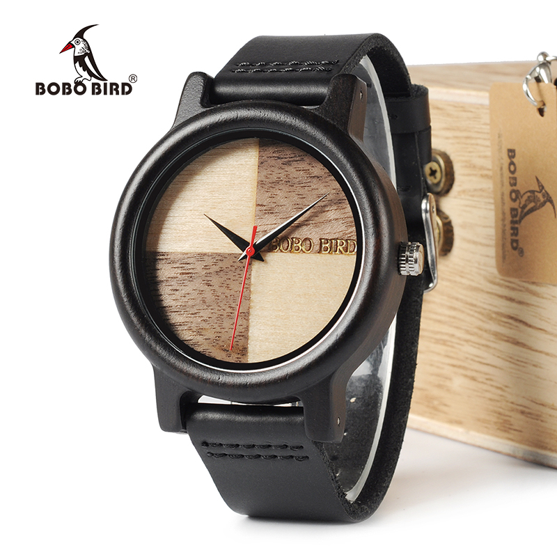 BOBO BIRD WN08 Ebony Wooden Watches Leather Band Natural Wood Chessboard Design Face Quartz Watch For Men Women OEM bobo bird wh05 brand design classic ebony wooden mens watch full wood strap quartz watches lightweight gift for men in wood box