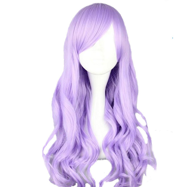 MCOSER 70cm/60cm Long Synthetic Wavy Burhundy Cosplay Wig Light Purple Color  100% High Good Ideas