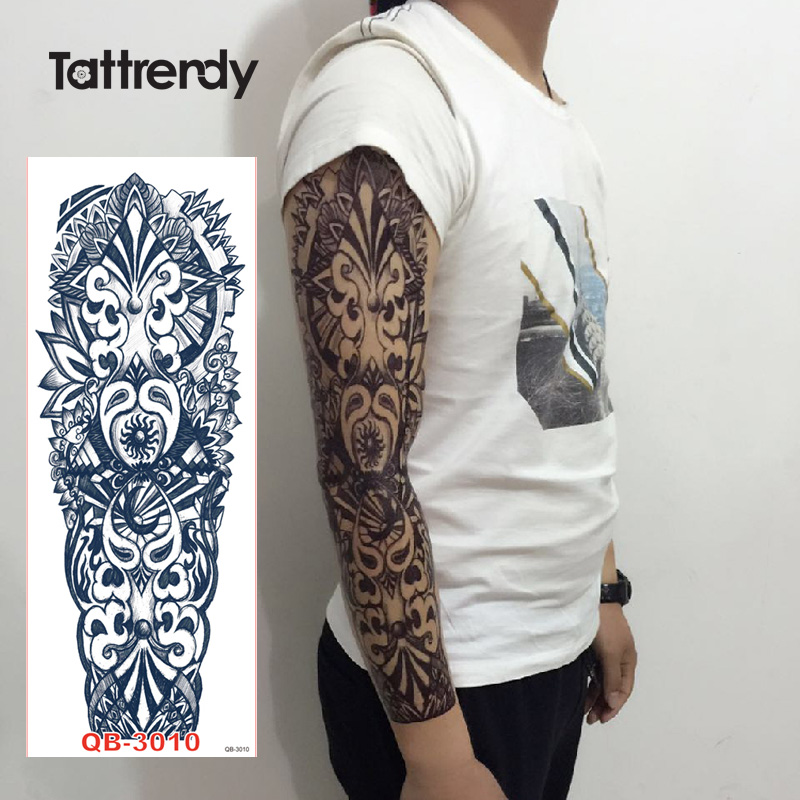 052a28b84 10pcs/lot large temporary arm tattoo rose clock jewel death skull fish  tattoos stickers for lower full shoulder men fake sleeve