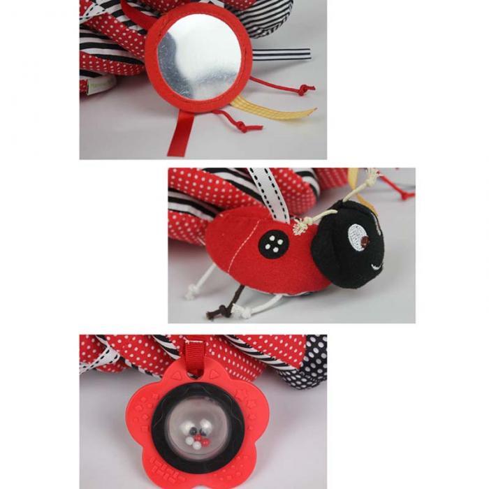 New Funny Toys Hanging Stripe Flower Ladybug Glass Mirror Shape Cute Plush Activity Crib Bell Stroller Baby Soft Toys FL 4