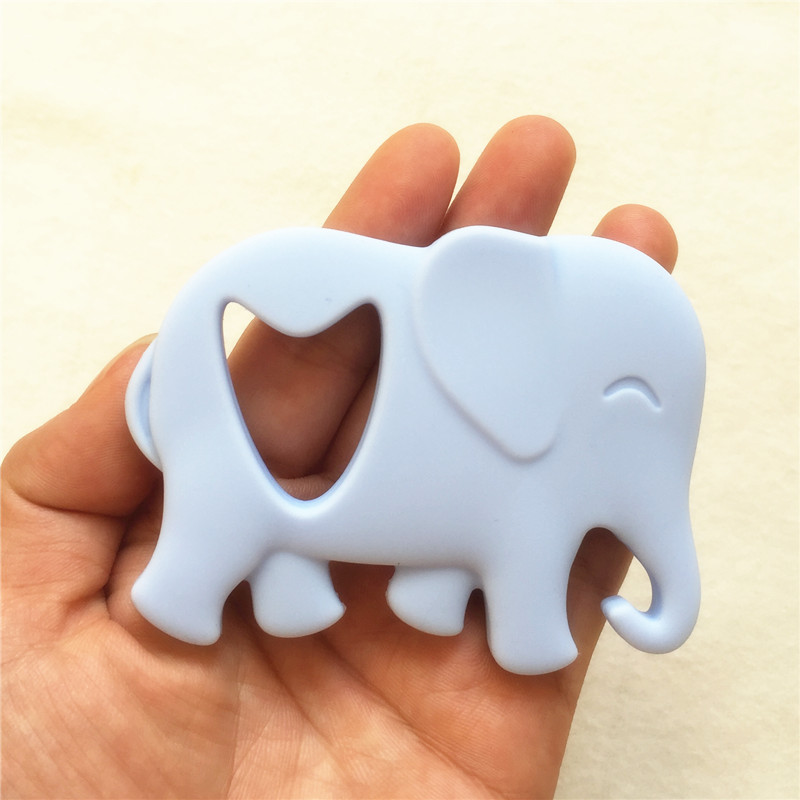 Chenkai 50PCS Silicone Elephant Pacifier Teether DIY Baby Shower Nursing Chewing Mommy wearing Jewelry Toy Candy Color