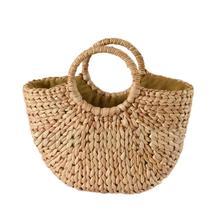 Fashion Moon Bag Fresh Yellow Grass Straw Braided Natural Rattan Bags Semi-circle Handbag Beach