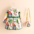 Cute Kids Girls Floral Perfume Cartoons Print Dress with Mini Cross Bags Purse Ruffles Fall Winter Holiday Dress