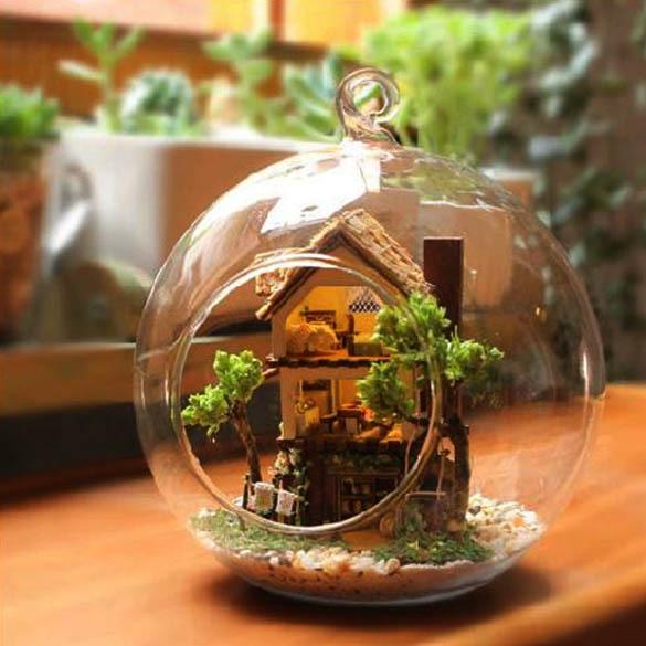 Modo miniatura DIY Floresta Casa de Sonho de Garrafa de Vidro de Alta Qualidade