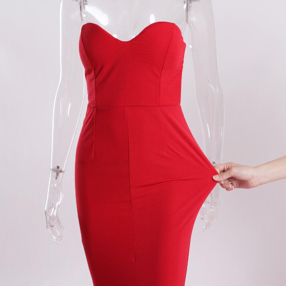 Strapless Split Front  Mermaid Sleeveless Elegant Dress 10