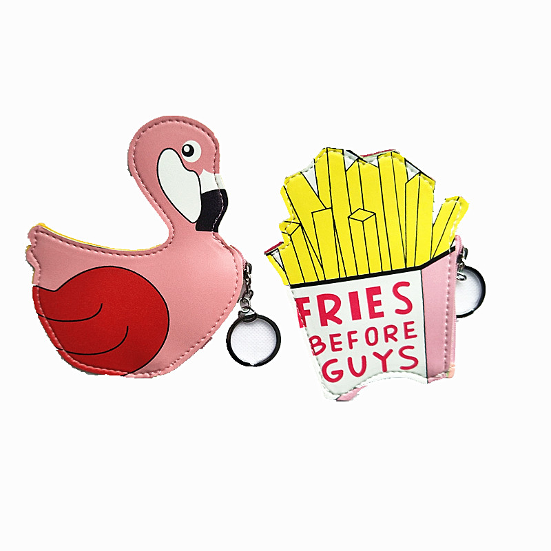 M273 Creative Coin Zero Purses Cute French Fries Swan Water Cup Capsule Book Mini Lady PU Coin Purse Key Buckle Bag пуф french fries