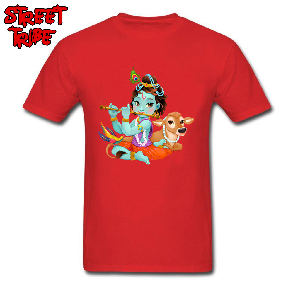 Short Sleeve Tops Tees Round Collar 100% Cotton Men T-Shirt Baby Krishna with sacred cow Printing Tops T Shirt New Coming Baby Krishna with sacred cow red