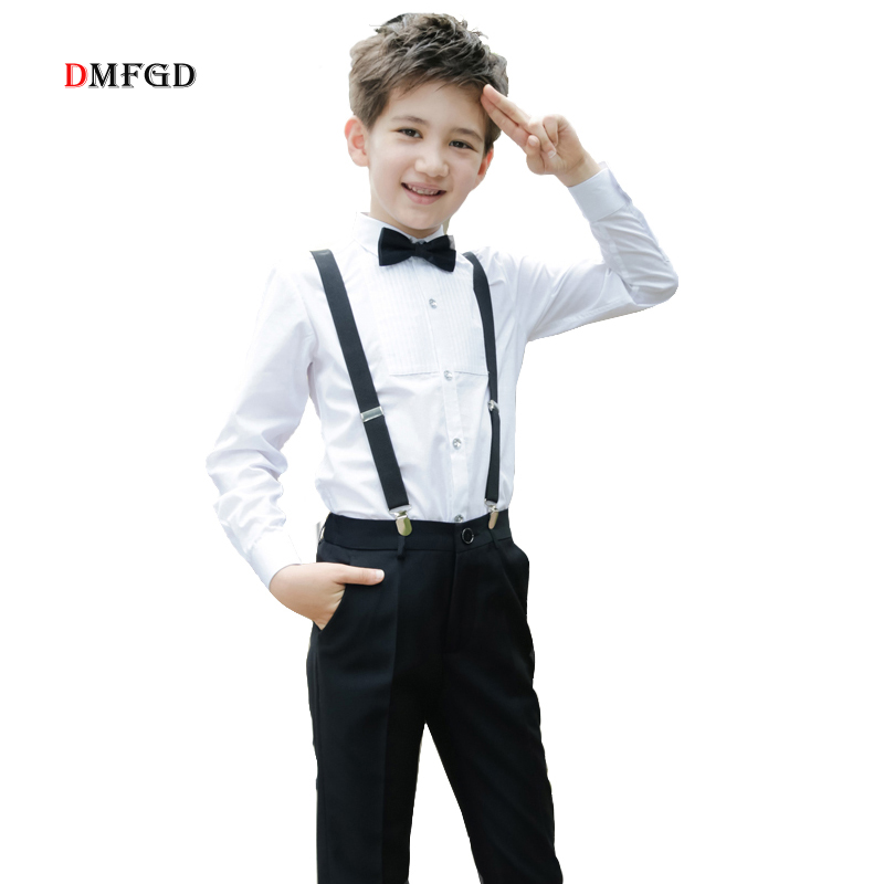 High Quality kids clothing set boys clothes suit school uniform student costume white shirt trousers teenager party boy clothes цена 2017