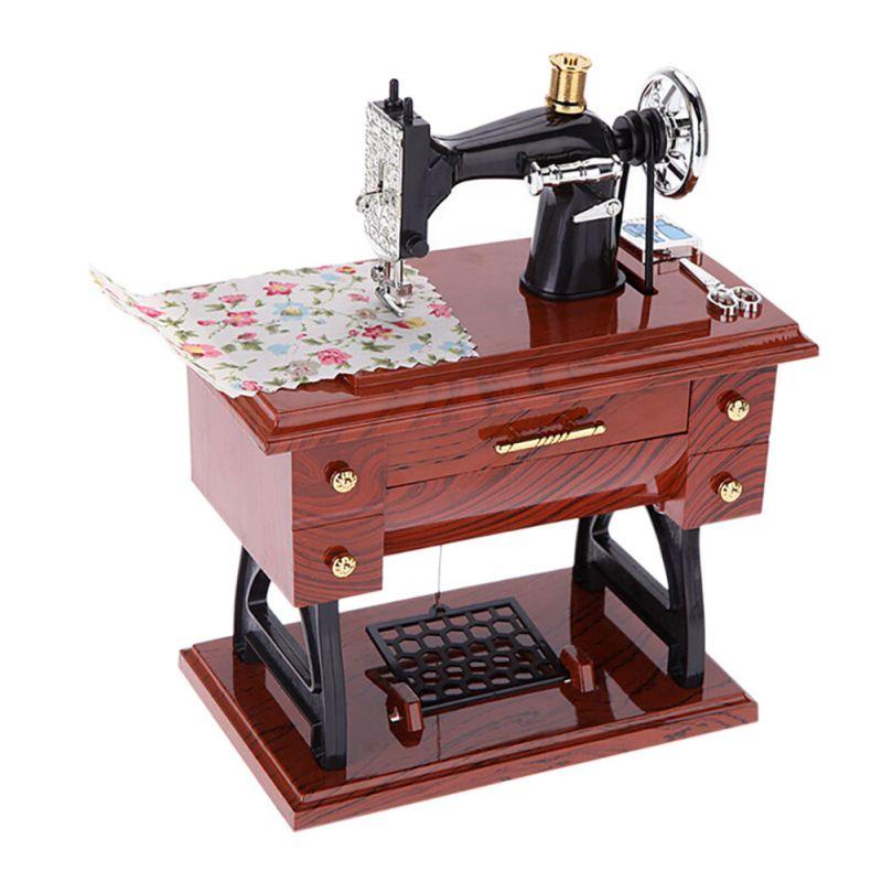 Music Sewing Machine Exquisite Box Musical Vintage Look Retro Classical Desk Decor