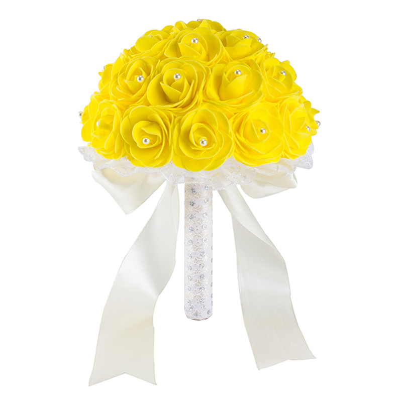 Bridal-Bouquets Wedding-Flowers Blue Artificial-Rose Handmade Yellow White For New