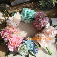 5pcs 8Colors Wholesale 5 Peony Flower Heads Bouquet Silk Artificial Flowers For Home Office Holiday Decoration GF13823