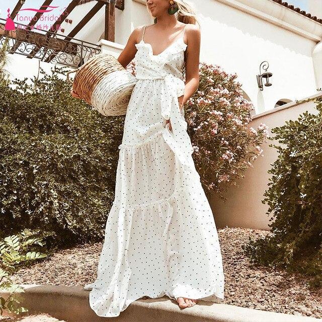 4136fc9d73f6 Spaghetti Bridesmaid Dresses Cheap Dot Boho Wedding Guest Gowns ZB090