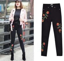 купить Chinese style flower embroidery high-waisted black denim penicl pants Fashion women's slim fit ninth jeans дешево