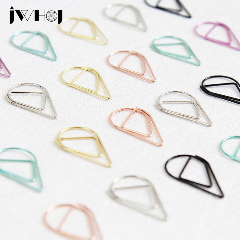 10 Pcs/lot Small Colorful Waterdrop Shape Paper Clip Material Escolar Bookmarks For Book Stationery School Supplies Papelaria