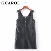 GCAROL 2018 Euro Style V Neck Faux Leather Dress Two Big Pockets Women Straps Dress High Street Spring Summer Girls Dress