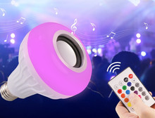 Altavoz Bluetooth bombilla LED inteligente E27 12W reproducción de música regulable lámpara Led inalámbrica colorida RGB con 24 teclas control remoto