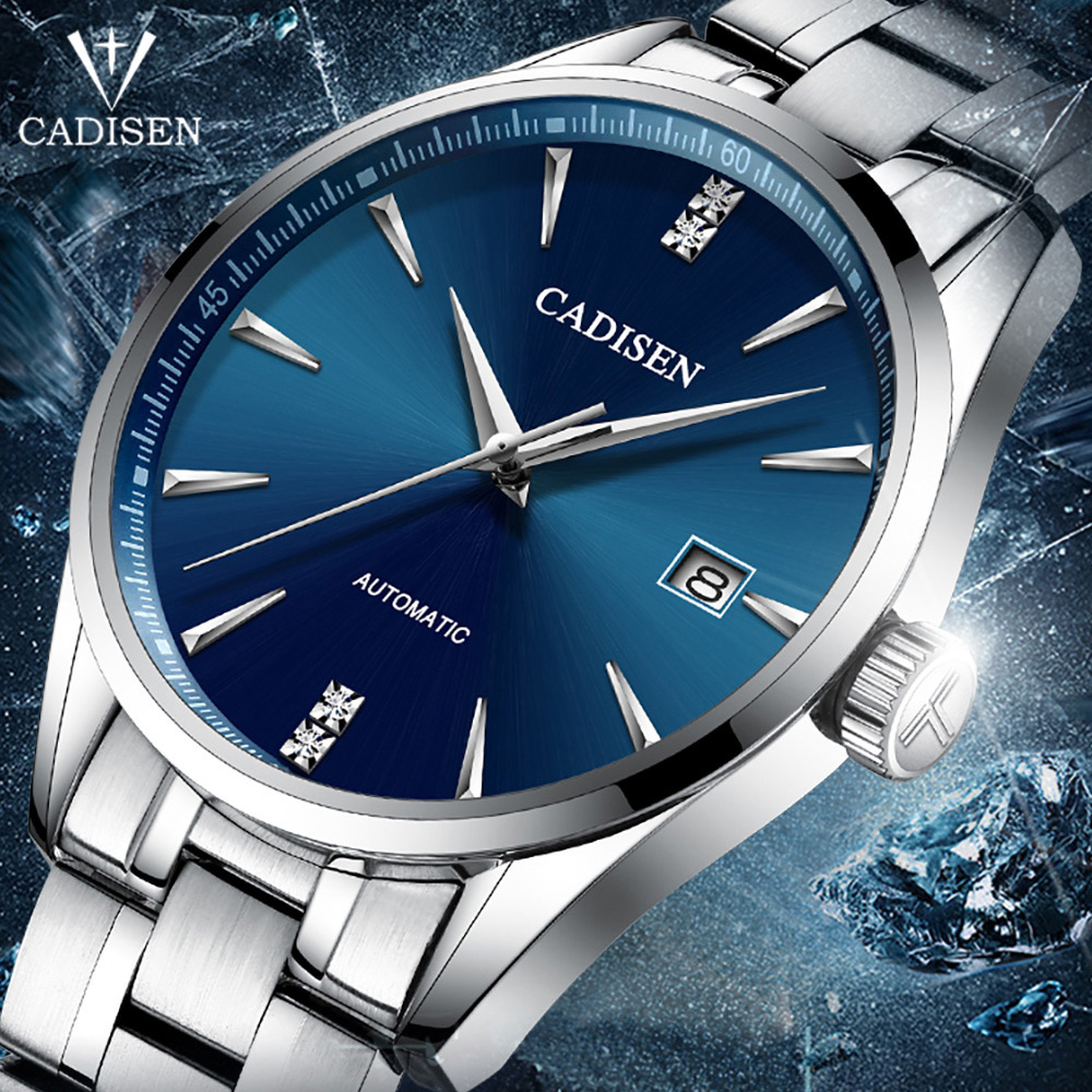 2019 CADISEN Genuine Luxury Brand Men s business watch steel men watch automatic mechanical male wirstwatch