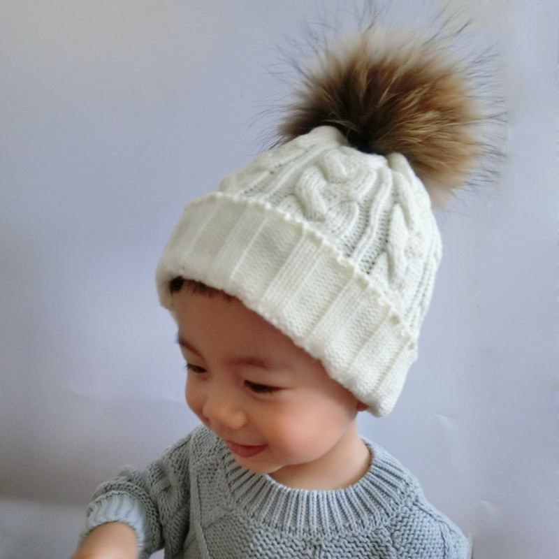 fc819d3e449 FURANDOWN Fur Pompom Hat Children Baby Winter Beanie Hats Wool Knitted Caps  For Kids Girls-in Skullies   Beanies from Apparel Accessories on  Aliexpress.com ...