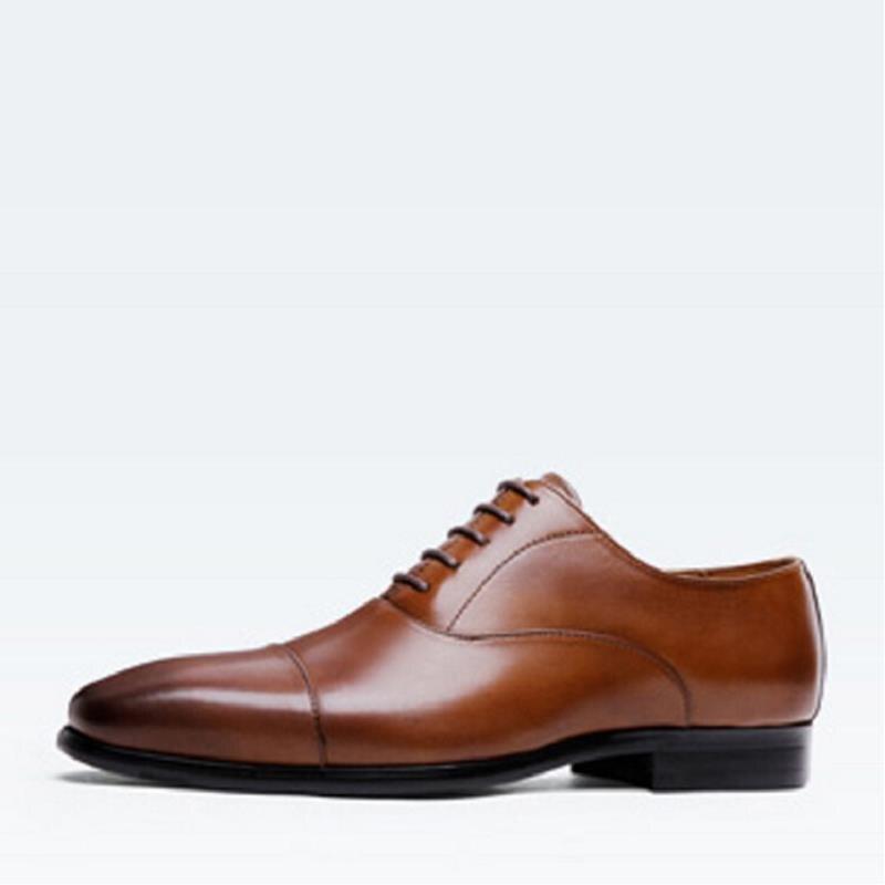 Hombres Mycolen Cuero 2017 Auténtico Zapatos Oxford Brown Cómodo Otoño Pisos Vestido Hombre Mens Británicos Negro marrón Moda vqpvxBS