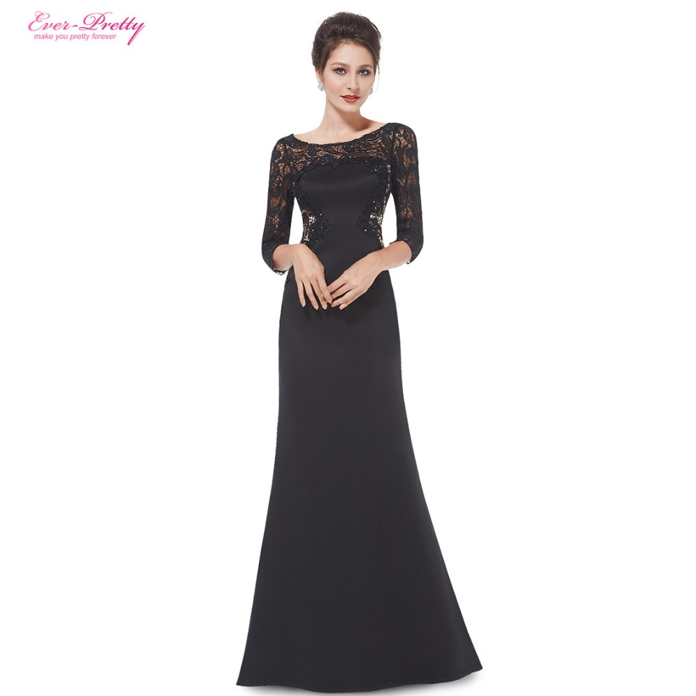 Clearance Sale Mother of the Bride Dresses Ever Pretty HE08419BK Women Elegant Rhinestone 3 4