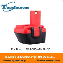 Brand New 12V Ni-CD 2000mAh Replacement Power Tool Battery for Bosch BAT043 2 607 335 692 Bosch 22612 Bosch 23612 Black&Red