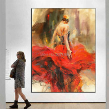 hand painted Abstract spanish lady Portrait Oil Painting Red skirt girl picture Bullfighting dancer canvas home decor