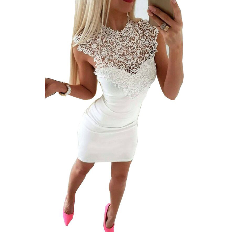 Women Bodycon Mini Party Dresses Lace Stitching Hollow Out Sexy Dress Clothing WS7287R